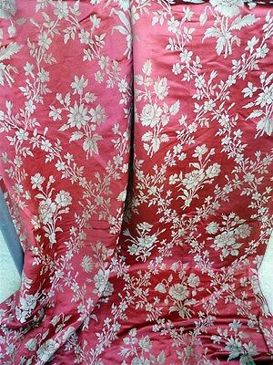 N° One ;French antique 19th-century red /pink  silk  floral decor  1880circ