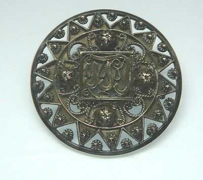 "Antique 800 Silver 2 1/4"" Brooch Firenze Italy"
