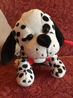 Dalmatian Cuddly Soft Plush Toy On A Stick Lead Dalmation Spotty Dog Puppy