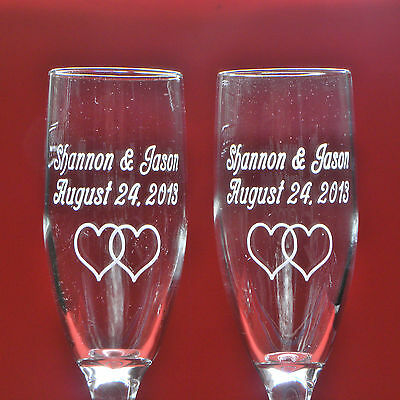 2 Personalized Wedding Glasses - Engraved Libbey Clear Claret Toasting Flutes