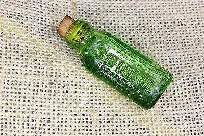 3 in 1 One Oil Tiny Antique SAMPLE Green Triangular Ribbed Bottle with Cork