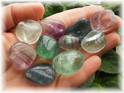 3 Large TUMBLED RAINBOW FLUORITE STONES Wicca Witch Crystal Healing