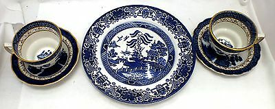 5 Piece BOOTHS 'Old Willow' BLUE & WHITE Ironstone Pottery DINING SET - B25