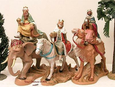 "Fontanini Depose Italy 7.5""3 Kings On Animals Nativity Village Figures New"