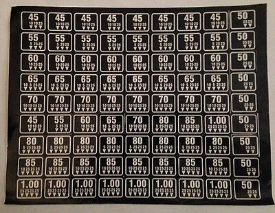 New Antares - Combo Vending - Coin Mechanism Price Stickers - Black - No 75 Cent