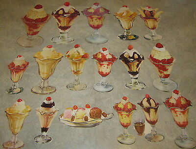 Lot of 17 Old 1950's Vintage ICE CREAM SUNDAE Soda Fountain DINER Paper Diecuts