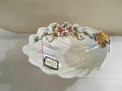 Vintage Capodimonte Floral Serving Dish Bowl Handpainted Italy (H74)