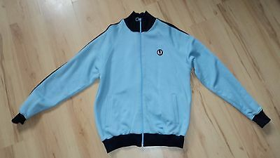 Size M vintage Fred Perry tracksuit top, light & dark blue
