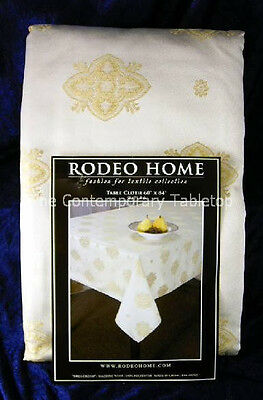 NEW! Rodeo Home BREA CREAM Jacquard Fabric Tablecloth 60 x 84 ivory eggshell