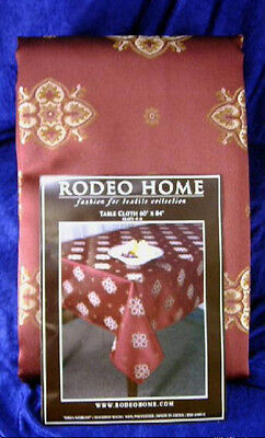 NEW! Rodeo Home BREA MERLOT Jacquard Fabric Tablecloth 60 x 84 burgundy wine red