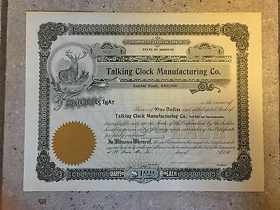 talking clock manufacturing stock certificate