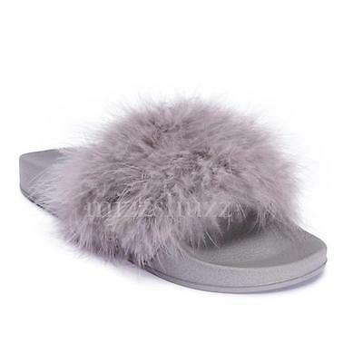 Womens Grey Feather Ladies Marabou Fur Slip On Fluffy Mules Sliders Slippers