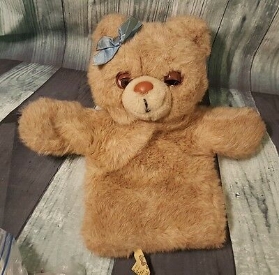 Applause Vintage Plush Teddy Bear Puppet Bow 1988 11""