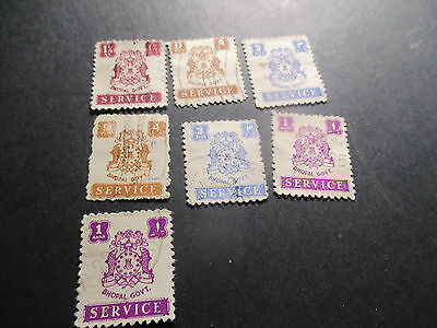 Seven [7] Bhopal India Feud States Service Stamps. Lot 442.