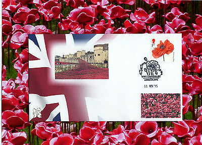 11/11 Postmark POPPIES stamp POPPIES at the Tower of London Anniversary Cover