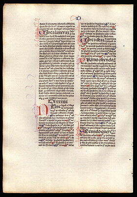 The Sentences of Peter Lombard A 1477 Commentary Incunable Leaf Bishop of Paris