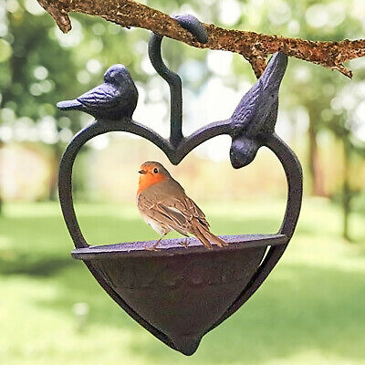 Cast Iron Loveheart Wild Bird Feeder Station Garden Water Bath Hanging Feeder