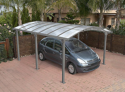 Curved Roof Canopy, Carport in Grey - Freestanding