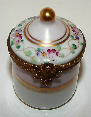"Miniature Porcelain Container With Hinged Lid By ""dubarry Of Limoges"""