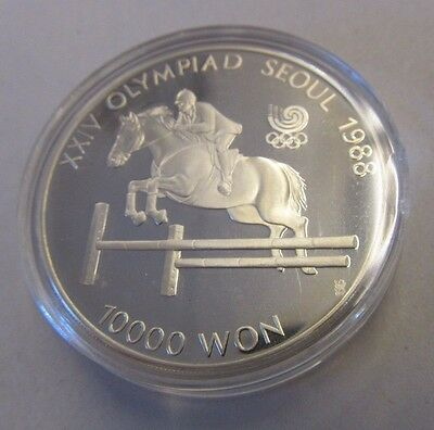 1988 SEOUL OLYMPICS Horse Jumping 10000 WON SILVER PROOF COIN  in Capsule