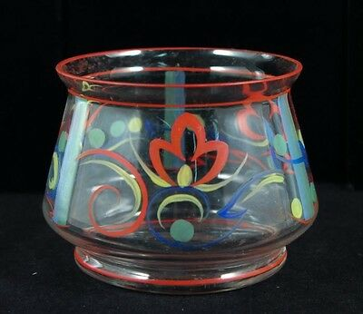 Vintage 1920s Art Deco Continental European Enameled Floral Art Glass Vase