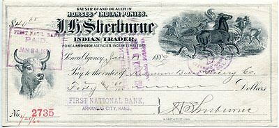 Indian Territory Ponca Agency Oklahoma Horse Ponies Trader 1889 Bank Check