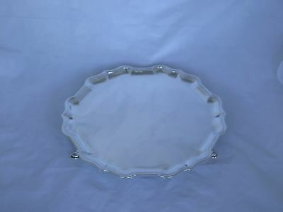 "Awesome 1912 London Sterling Large 12"" Footed Salver/Tray"