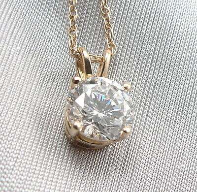 14K Yellow GOLD Diamonique 2.4ctw CZ Solitaire Pendant Necklace Cubic Zirconia