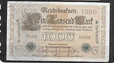 GERMANY #45b 1910 VG USED 1000 MARK OLD BANKNOTE PAPER MONEY CURRENCY BILL NOTE