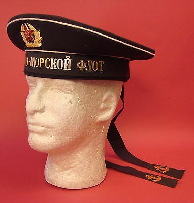SOVIET Russian NAVY SAILOR CAP Beskozyrka & Hat Badge A+COND. 1983 USSR ORIGINAL