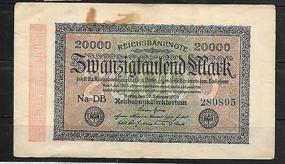 GERMANY #85b 1923 20000 MARK GOOD USED OLD BANKNOTE PAPER MONEY CURRENCY NOTE