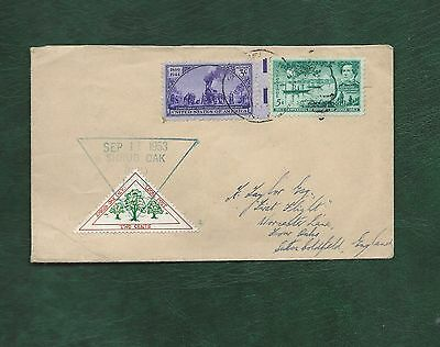 USA 1953 Shrub Oak NY local post stamp used on postally used cover to UK