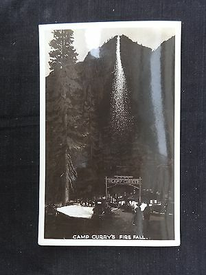 Postcard RPPC Yosemite National Park Camp Curry's Fire Fall Night View Unused