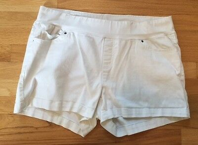 OH BABY White Denim Maternity Shorts Size XL Cotton Spandex Blend (by Motherhood