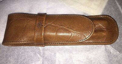 MULBERRY BROWN CONGO LEATHER DOUBLE PEN POUCH CASE IN GC. Not Boxed Genuine