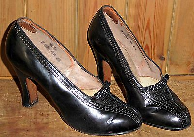 Vintage 40S 1940S Punched Leather Shoes Heels Uk 4 Wwii Rockabilly Swing