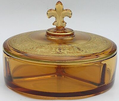 Fostoria Greek Figural Key Gold Encrusted Covered Candy Box 3 Part Dish #2331