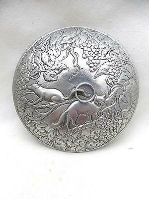 """Vintage Domed Round Lid 7.75"""" Embossed Foxes and Grapes Design on Both Sides"""