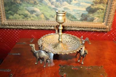 Vintage Etched Brass Single Candle Holder With 3 Little Camel Feet Made India