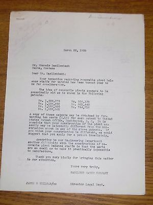 1938 Hamilton Watch Company Employee Original Public Submitted Idea Letter #11
