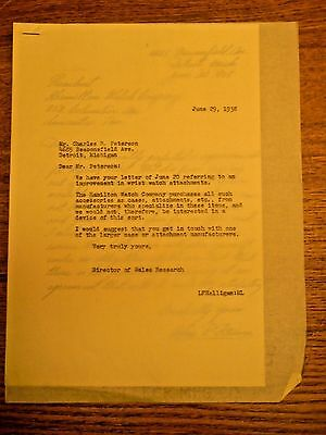 1938 Hamilton Watch Company Employee Original Public Submitted Idea Letter #3
