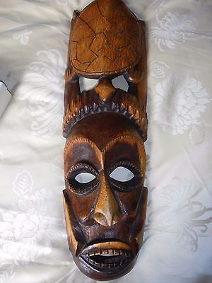 Hand carved Wooden mask,African? MAN AND TURTLE