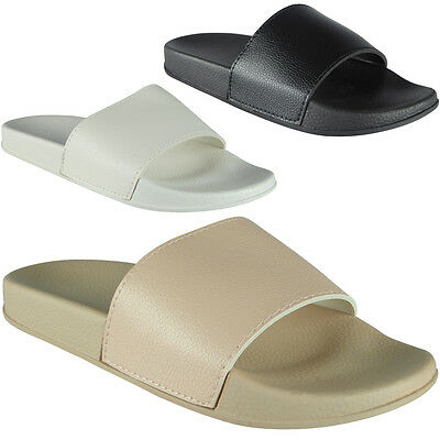ba0928596 New Womens Ladies Plain Comfy Rubber Slider Flats Shoes Slides Slippers Size