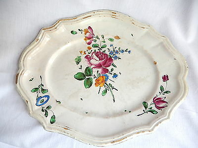 19EME grand plat oval ancien decor de rose céramique peinte main