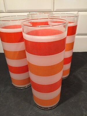 Set Of Tom Collins Glasses Frosted With Orange Stripes Crush MCM