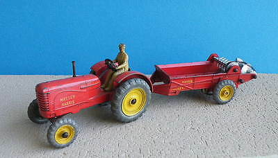 Vintage Diecast Dinky Toys - Massey Harris Tractor with Manure Spreader 321