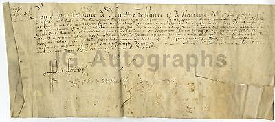 King Louis XIII - King of France 1610-1643 - Manuscript Document on Vellum