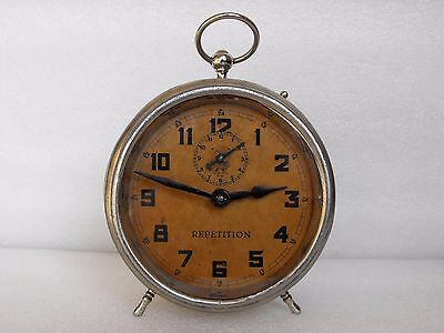 Antique Rare * U.M. * Mechanical Alarm Repetition Clock Muller&Co Germany 1920s