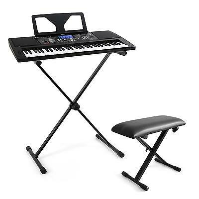 Pack Piano Numerique Keyboard Usb Midi 61 Touches Lcd Banc Reglable Support En X
