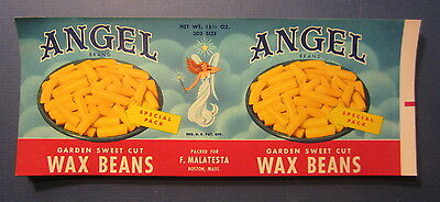 Wholesale Lot of 100 Old 1950's - ANGEL Brand - CAN LABELS - WAX BEANS